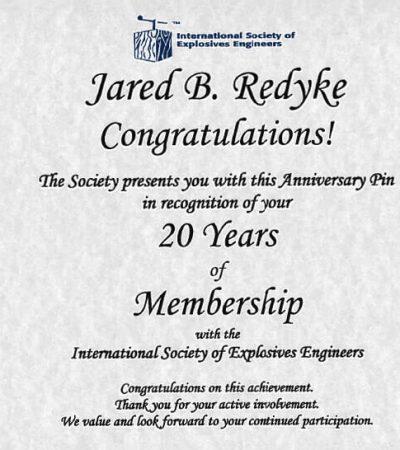 Jared's 20 Year ISEE membership certificate